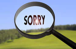 Sorry. Magnifying glass with the word sorry on blurred nature background Royalty Free Stock Images