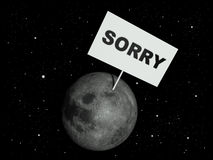 Sorry. Message board on moon with the text word Sorry. 3d render illustration Stock Photo