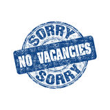 Sorry no vacancies stamp. Blue grunge rubber stamp with the text sorry no vacancies written inside the stamp Stock Images