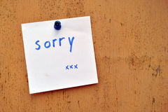 Sorry note Royalty Free Stock Photo