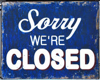 Sorry we're Closed Sign. A sorry we're closed sign in a store window in Sheffield, UK Royalty Free Stock Photography
