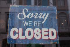 Sorry we're closed Stock Images