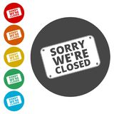 Sorry we`re closed sign stock illustration