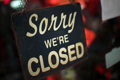 Sorry we`re closed. Vintage panel `sorry we`re closed Stock Photo
