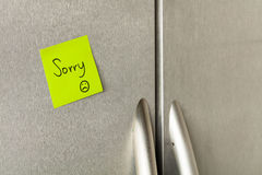Sorry refrigerator note Stock Photo