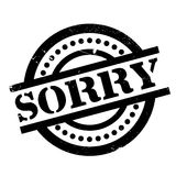 Sorry rubber stamp. Grunge design with dust scratches. Effects can be easily removed for a clean, crisp look. Color is easily changed stock photos