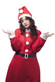Sorry Santa Woman. No Gifts. Isolated on White royalty free stock photography