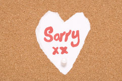 Sorry sign on cork notice board. Abstract royalty free stock photo