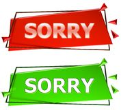 Sorry sign. Sorry modern 3d sign isolated on white background,color red and green stock illustration