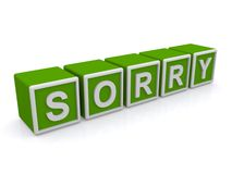 Sorry text. Text 'sorry' in white uppercase letters on small green cubes, white background Stock Photos