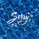Sorry vector illustration over blue water Royalty Free Stock Photo