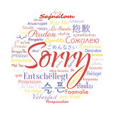 Sorry. Word in the languages of the whole world. Vector collage Stock Photo