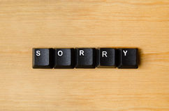Sorry word. With keyboard buttons Stock Image