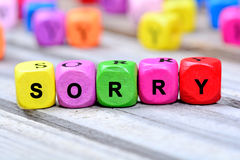Sorry word on table. Sorry word on wooden table royalty free stock image