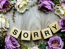 Sorry word wooden block with artificial roses flowers decor. Sorry word alphabet letters wooden block with artificial roses flowers decor royalty free stock photos
