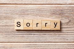 Sorry word written on wood block. sorry text on table, concept.  Royalty Free Stock Images
