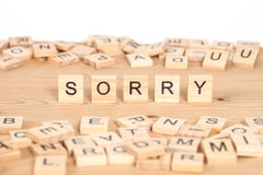 Sorry ,word written on wood cube Royalty Free Stock Images
