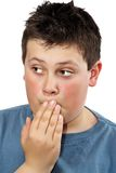 Sorry young teen boy. Closeup portrait of a young teen boy with sorry expresion Royalty Free Stock Images