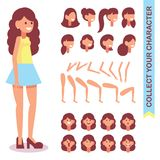 sort 3 4 av det livliga teckenet Formgivare-formgivare av en ung flicka med olika sorter, sinnesrörelser av framsidan, kroppsdela royaltyfri illustrationer