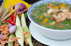 Kryddig blandad grönsaksoup (Kaeng Liang) Royaltyfria Bilder