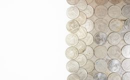 Sort Baht Thailand coins with white background. Stock Image