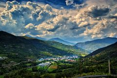 View of the town Sort in Pyrenees Spain. Sort is the capital of the comarca of Pallars Sobirà, in the province of Lleida, Catalonia, in the country of Spain. It Royalty Free Stock Photo