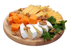 Sort of the cheese. Various types of cheese on white background Stock Photo