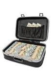 Sort d'argent dans une valise d'isolement sur le blanc, avec le chemin de coupure Photos stock