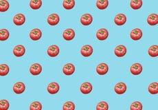 Sort de grandes tomates mûres rouges fraîches saines organiques sur le fond bleu Photos libres de droits