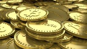 Sort de pièces d'or avec les symboles de la crypto devise numérique Bitcoin et de l'inscription Bitcoin, rendu 3D illustration libre de droits