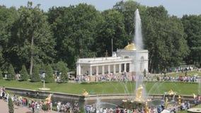 Sort de touristes des personnes autour de la plus grande fontaine, du Samson et de la fontaine de lion dans Peterhof, St Petersbo banque de vidéos