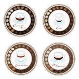 Sort fyra av kaffedrycken i Retro rund etikett Royaltyfria Foton