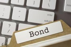 Sort Index Card Bond. 3D. Bond. Folder Index on Background of Modern Metallic Keyboard. Archive Concept. Closeup View. Selective Focus. Toned Illustration. 3D Royalty Free Stock Photos