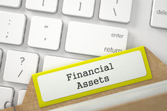 Sort Index Card with Inscription Financial Assets. 3D. Stock Images