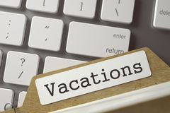 Sort Index Card with Vacations. 3D. Vacations. Archive Bookmarks of Card Index Concept on Background of Modern Laptop Keyboard. Business Concept. Closeup View Stock Photography
