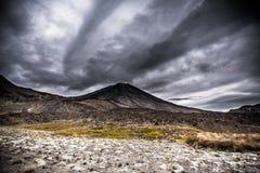 Sort malheureux de Mt NgauruhoeMt en parc national NZ de Tangariro Images libres de droits