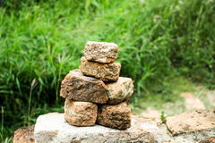 Sort old red bricks isolated on Archaeological. Site background stock images