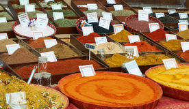 Sort of spices at Provence market Royalty Free Stock Images