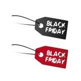 Sort två av Black Friday etiketter Arkivbilder