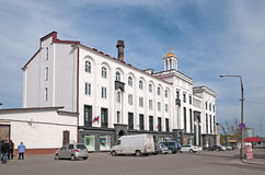 Sortavala,卡累利阿,俄罗斯 与正统十字架的大厦 免版税库存照片