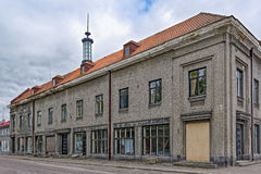 Sortavala Buildings and Architecture. The two-storeyed building of twenties with an original lamp in syringe shape on the roof. Sortavala, Republic of Karelia stock images