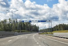 Sortavala highway, Leningrad region, Russia. Section of highway Sortavala, turn to Vaskelovo, Leningrad region, Russia royalty free stock photo