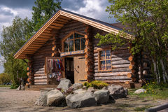 Sortavala, Republic of Karelia, Russia - June 12, 2017: Souvenir shop in a wooden house from logs. In the same house there is the Museum of Ladoga Royalty Free Stock Photo