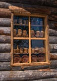 Sortavala, Republic of Karelia, Russia - June 12, 2017: Window souvenir shop in a wooden house of logs. In the same house there is the Museum of Ladoga Stock Photos