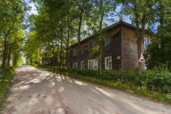 Sortavala street. Old wooden houses in Sortavala (Russia stock photos