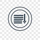 Sorte en bas de l'icône linéaire de vecteur de concept d'isolement sur le CCB transparent illustration stock