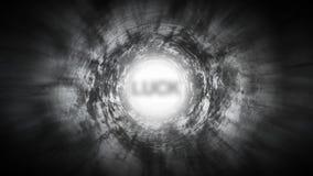 Sorte na extremidade de um túnel escuro ilustração stock