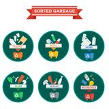 Sorted garbage icons Stock Images