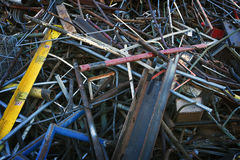 Sorted Pile of Scrap Metal. Sorted scrap metal piled high in a recycle yard royalty free stock photos