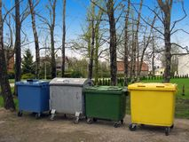Sorted waste 2. Trash containers in different color, for sorted waste stock images